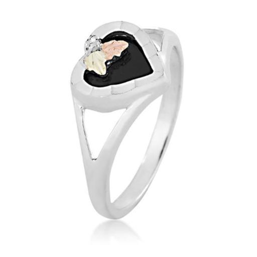Landstoms MRLLR2841 080 Black Hills Gold Silver Onyx Heart Ring - Size 8