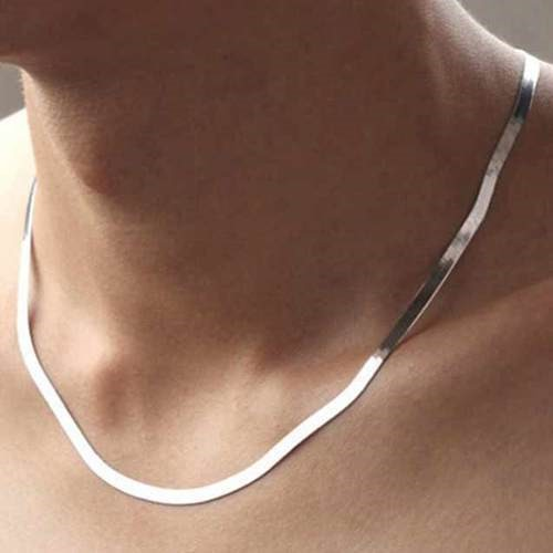 14K White Gold Filled Solid Herringbone Flat Necklace 20""