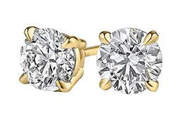 Happiness Free with Diamond Stud Earrings in 14K Gold