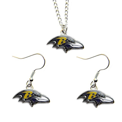 NFL Baltimore Ravens Sports Team Logo Necklace and Dangle Earring Charm Set