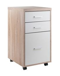 Winsome Kenner Mobile File Cabinet, 3 Drawers, Reclaimed Wood/White Finish