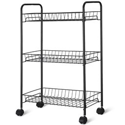 3 Tier Rolling Kitchen Utility Trolley with Storage Shelf Baskets