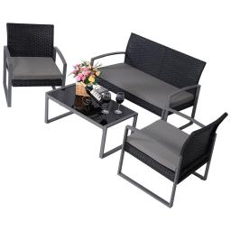 4 pcs Patio Cushioned Rattan Seat