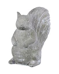 Urban Trends Cement Standing Squirrel Figurine in Washed Concrete Finish - White