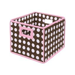 Badger Basket Co Folding Basket/Storage Cube - Pink Trim/Brown Polka Dot