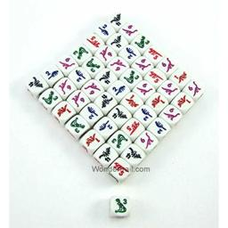 Dinosaur Dice D6 White Opaque with Multi-Color Dinosaurs 16mm (5/8in) Set of 50 Dice Koplow Games