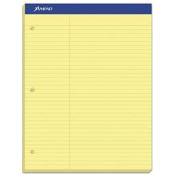 Ampad 20245 Double Sheets Pad, Law Rule, 8 1/2 x 11 3/4, Canary, 100 Sheets