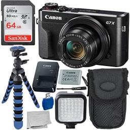 Canon PowerShot G7 X Mark II Digital Camera Deluxe Bundle Includes - 12 Gripster Point N Shoot Case Sandisk 64GB Ultra Memory Card 36 LED Light Kit and More
