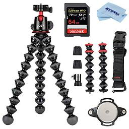 Joby Gorillapod 5K Kit Rig Upgrade Professional Tripod Stand With Ball Head For Dslr Or Mirrorless Cameras With Lens (Up To 11Lbs5Kg) Blackcharcoal Bundle With 64Gb Sd Card Cloth