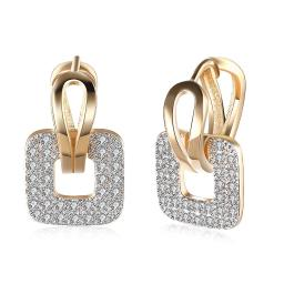 Pave Sqaure Huggie Earring in 18K Gold Plated