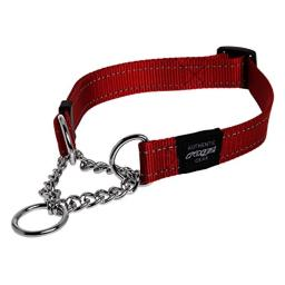 ROGZ Utility Large 3/4-Inch Reflective Fanbelt Obedience Half-Check Dog Collar, Red