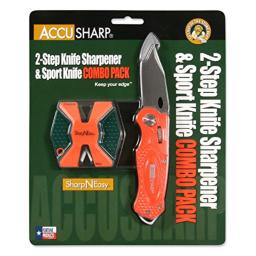 AccuSharp Sharpneasy 2-Step Sharpener & Sport Knife - Orange