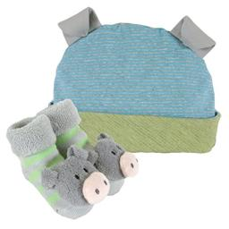 Stephan Baby Rattle Socks and Knit Cap Gift Set, Stripy Blue/Green Pig