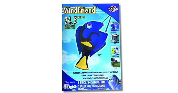 Dory Finding Nemo Kite Accessories Outdoor and Indoor Decor Dory finding nemo Outdoor beach decor, room decor, and kite accessories for kite tails make kite flying a pleasure. Add some beach with this fish kite you can hang it from your patio, or from a tree on your lawn. You can also add to the collection of finding nemo toys and add more characters to your kids room decor or maybe add Disney characters to your movie room decor. You can also tie it to a kite line and add some character to your kite tail