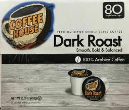 Coffee House Dark Roast Coffee K-Cups 80 count ~ FAST FREE SHIPPING ! ~