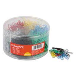 Universal 21000 Vinyl-Coated Wire Paper Clips, No. 1, Assorted Colors, 1000/Pack
