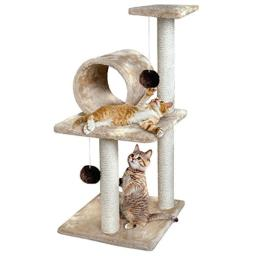 "Animal Planet 30"" Three-Tiered Cat Tree House, Provides Hours Of Entertainment For Your Felines & Kittens, Sturdy & Durable Design, Features Woven Rope Scratch Posts & Plush Toy Balls"