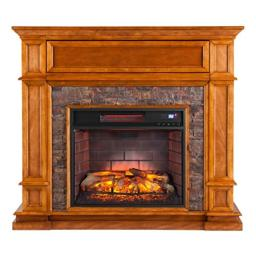 "Southern Enterprises Belleview Infrared Media Fireplace 45"" Wide, Sienna Finish with Faux Black Stone"