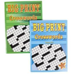 CROSSWORD PUZZLES BIG PRINT 96PG 2 ASSORTED IN PDQ, Case Pack of 24