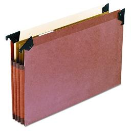 """Pendaflex 45423 3 1/2"""" Hanging File Pockets with Swing Hooks, 1/5 Tab, Legal, Brown (Box of 5)"""