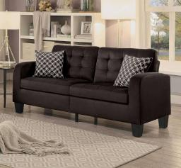 Contemporary Style Wooden Sofa With Tufted Backrest And Seat, Chocolate Brown Finish