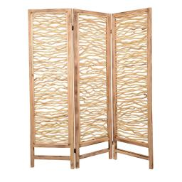 Contemporary 3 Panel Wood Screen with Horizontal Branch Design, Brown