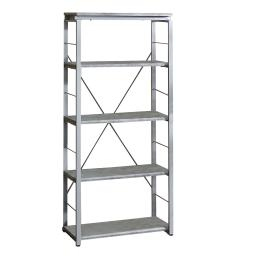 Industrial Bookshelf with 4 Shelves and Open Metal Frame, Silver and Gray