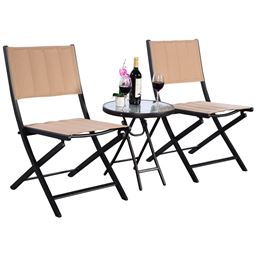 3 pcs Folding Steel Table Chairs Set