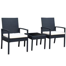 3 pcs Outdoor Rattan Patio Furniture Set