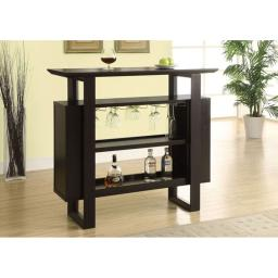 "Offex OFX-284350-MO Cappuccino 48""L Bar Unit with Bottle and Glass Storage"