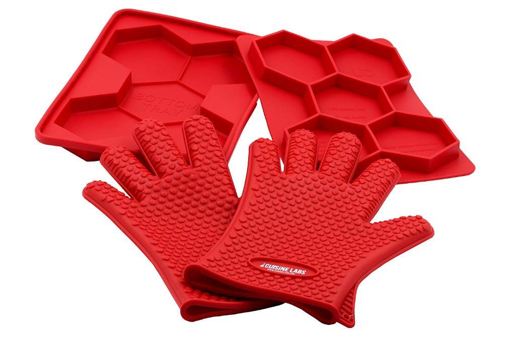 Silicone 5-in-1 Burger Press & Grilling Gloves Safe for Oven Dishwasher Freezer