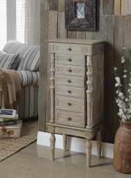 Lift Top Wooden Jewelry Armoire with 6 Drawers, Distressed Brown