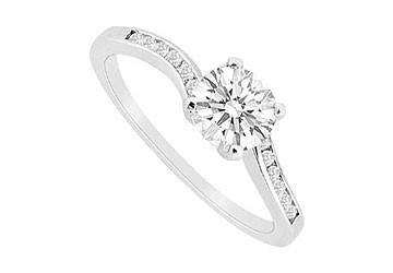 14K White Gold Engagement Ring with CZ Channel Set of 0.75 Carat Total Gem Weight