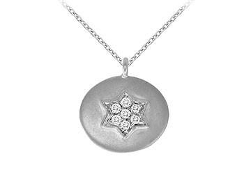 14K White Gold Diamond Star Disc Pendant Necklace 0.05 CT TDW