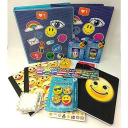 emoji Stationary Bundle Set Stickey Sticker Pad, Back to School Pocket & List notepad Expressions WILL Vary 14 Piece