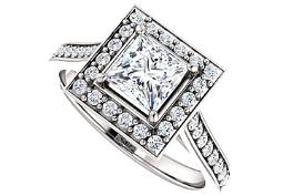 CZ Accented 14K White Gold Square Halo Engagement Ring