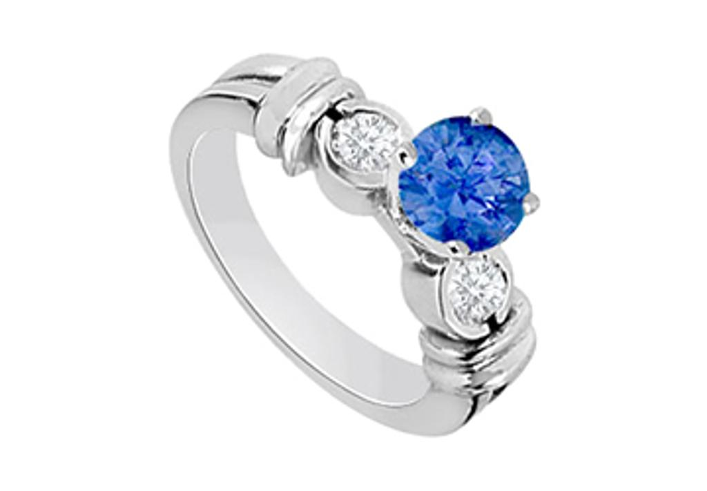 14K White Gold engagement ring with Created Sapphire and Cubic Zirconia 1.30 Carat TGW