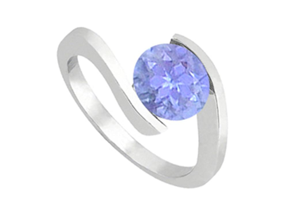 14K White Gold Fashion Created Tanzanite Solitaire Ring of One CT Total Gem Weight