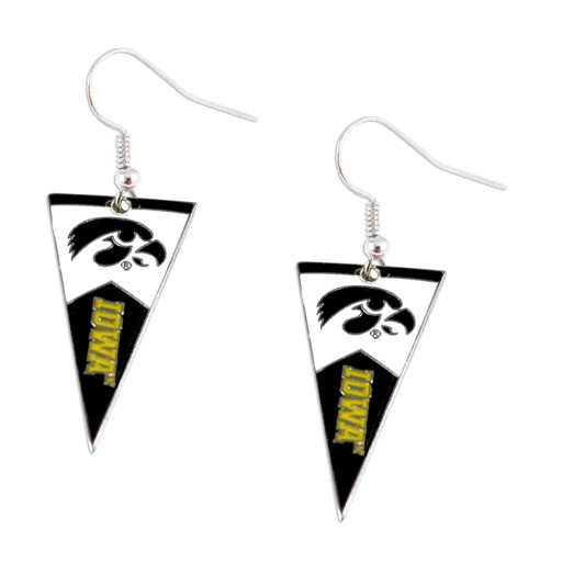 NCAA Iowa Hawkeyes Sports Team Logo Pennant Dangle Earring