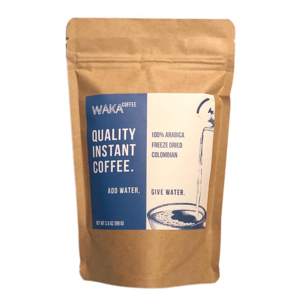 Waka Coffee Quality Instant Coffee | 100% Arabica, Colombian, Medium Roast, Freeze Dried, 35 servings in a 3.5 oz bag