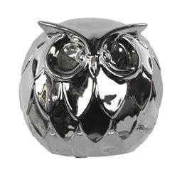 "Urban Trends  Ceramic Spherical Owl Figurine Large Polished Chrome Finish Silver - 6.25""H"