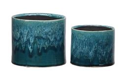 Urban Trends Ceramic Round Pot with Dye Color Dropped Top Design and Black Inner Surface in Gloss Finish, Jade Green - Set of 2