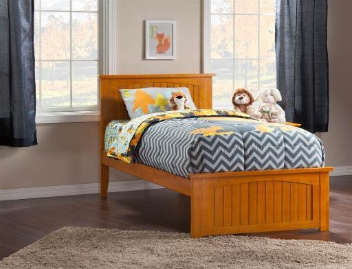 Nantucket Twin Bed with Matching Foot Board in Caramel Latte
