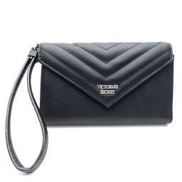 Victoria's Secret Black Clutch/Wallet with Wrist Strap and Snap Closing