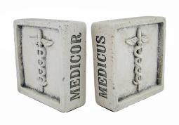 Museum White Latin Medical Terms Caduceus Symbol Cement Bookends