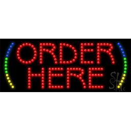 Sign Store L100-0846-outdoor Order Here Animated Outdoor LED Sign, 27 x 11 x 3.5 In.