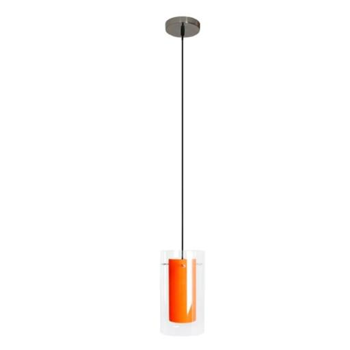 Efficient Lighting EL-506-113-ORG Contemporary 1-Light Pendant Fixture with Clear Outer Glass and Orange Inner Glass