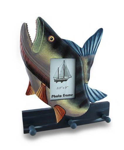 Colorful Wooden Bass Shaped Decorative Hanging Photo Frame and Wall Hooks 7DF7E78CB883C210
