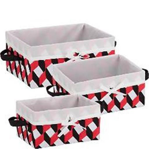 HoneyCanDo STO-06678 Twisted Tote - Black, Red & White - Set of 3 1AE4DC165A0CCC8