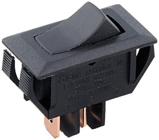 Black Rocker Switch 10 A On/Off - Spst - Cut-Out .550In X 1.125In